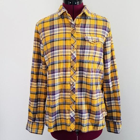 BDG Tops - BDG Yellow Plaid Flannel Shirt 09f33032f31
